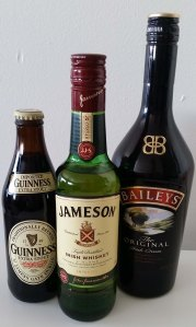 Guinness Extra Stout, Jameson Irish Whiskey, Bailey's Irish Cream